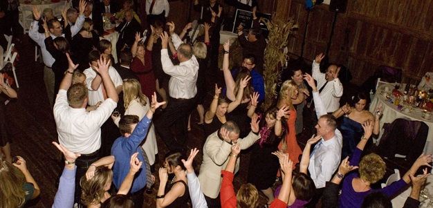 Wedding Dancing Crowd with Hands Up (cropped)